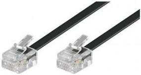 Anschlusskabel, beidseitig RJ11(6p4c)-Stecker, Kabel: 4-adrig, flach und schwarz, 1:1, 10,00 m