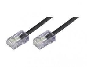 Anschlusskabel, beidseitig RJ45(8p4c)-Stecker mit EZE, Kabel: 4-adrig, flach und schwarz, 1:1