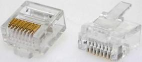 Modularstecker, RJ45 (8p8c), kurze Bauform, 15 µ, Inhalt: 10 Stück, für Flachkabel