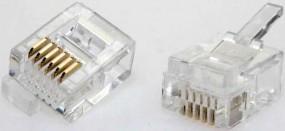 Modularstecker, RJ12(6p6c)- DEC, 15µ, Inhalt: 10 Stück, für Flachkabel