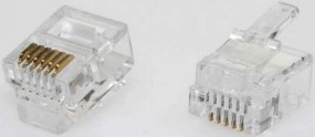 Modularstecker, RJ10 (4p4c), 15 µ, Inhalt: 100 Stück, für Flachkabel