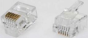 Modularstecker, RJ10 (4p4c), 15 µ Inhalt 10 Stück, für Flachkabel