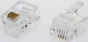 Modularstecker, RJ11 (6p4c), 15 µ, Inhalt: 100 Stück, für Flachkabel