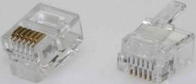 Modularstecker, RJ12 (6p6c), 15 µ, Inhalt: 100 Stück, für Flachkabel