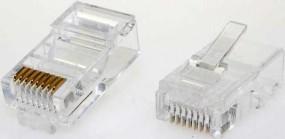 Modularstecker, RJ45(8p8c), 15 µ, Inhalt: 10 Stück, für Flachkabel
