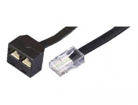 ISDN-Y-Adapter, RJ45(8p8c)-Stecker - 2 x RJ45(8p8c)-Buchse, parallel,