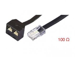 ISDN-Y-Adapter, RJ45(8p8c)-Stecker - 2 x RJ45(8p8c)-Buchse, terminiert (2x100 Ohm),
