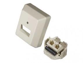 ISDN-Anschlußdose, 45°-Ausgang, schraubbar, 2 x 8 (8), Ap, EU