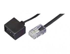Adapterkabel, RJ45(8p4c)-Stecker auf TAE 3 x NFF-Buchsen, Kabel: 4-adrig, flach und schwarz,