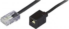 Reduzier-Adapter, RJ45(8p4c)-Stecker-RJ11(6p4c)-Buchse, Kabel: 4-adrig, flach und schwarz, 0,15 m