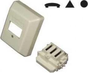 TSS-Anschlußdose für je 1 Telefon-Fax-AB, Aufputz