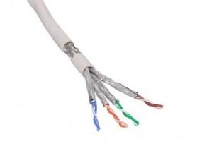 CAT.6 Meterware, S/FTP, PIMF, 4 x 2 TP, grau, 100 m Bund