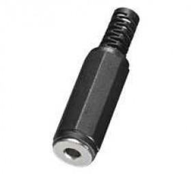 Klinkenbuchse 3-pol zum Löten mit Kunststoffhaube, schwarz