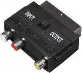 Scart Adapter, Scartstecker - 3 x Cinchbuchsen mit IN/OUT Schalter