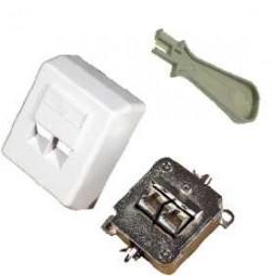 CAT.6 Anschlussdose 2-fach, Aufputz, Farbe: weiss, inklusive Anlegewerkzeug