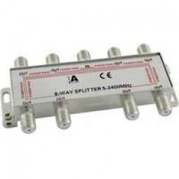SAT Verteiler 8-fach mit F-Buchsen, 5-2400 MHz, Schirmmaß >85dB, digital